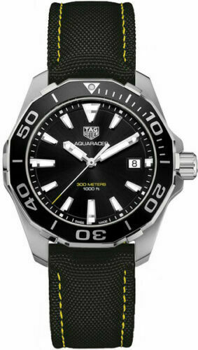 TAG HEUER AQUARACER WAY111A.FC6362 MENS SWISS QUARTZ BLACK YELLOW STRAP WATCH