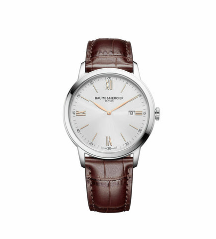 BRAND NEW BAUME ET MERCIER CLASSIMA 10415 MENS BROWN LEATHER ROSE GOLD WATCH