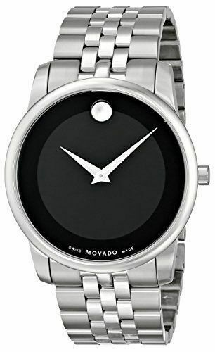 BRAND NEW MOVADO MUSEUM 0606899 BLACK MUSEUM SWISS QUARTZ MENS STEEL WATCH