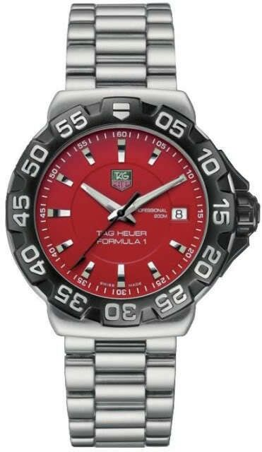 TAG HEUER FORMULA 1 WAH1112.BA0850 SWISS RED QUARTZ STEEL MENS SPORT DIVER WATCH