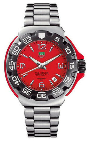 TAG HEUER FORMULA 1 RED WAC1113.BA0850 STEEL SWISS QUARTZ MENS SPORT DATE WATCH
