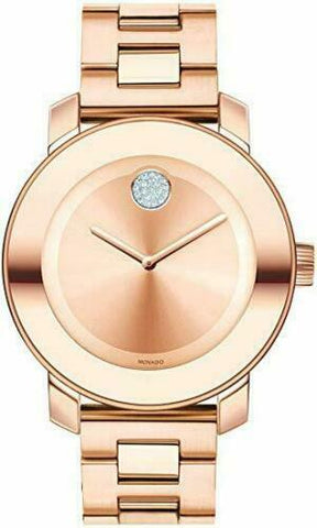 BRAND NEW MOVADO BOLD 3600086 ROSE GOLD SWISS QUARTZ LADIES STEEL 36MM WATCH