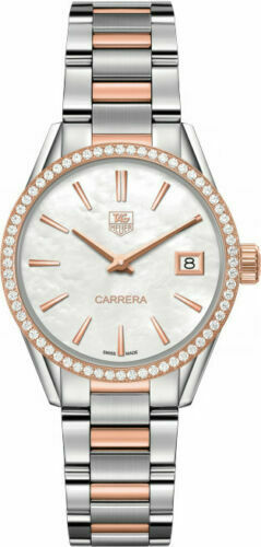 TAG HEUER LADIES CARRERA WAR1353.BD0779 DIAMOND ROSE GOLD PEARL LUXURY WATCH