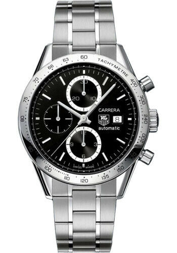 TAG HEUER CARRERA CV2016.BA0786 AUTOMATIC CHRONOGRAPH STEEL BLACK LUXURY WATCH