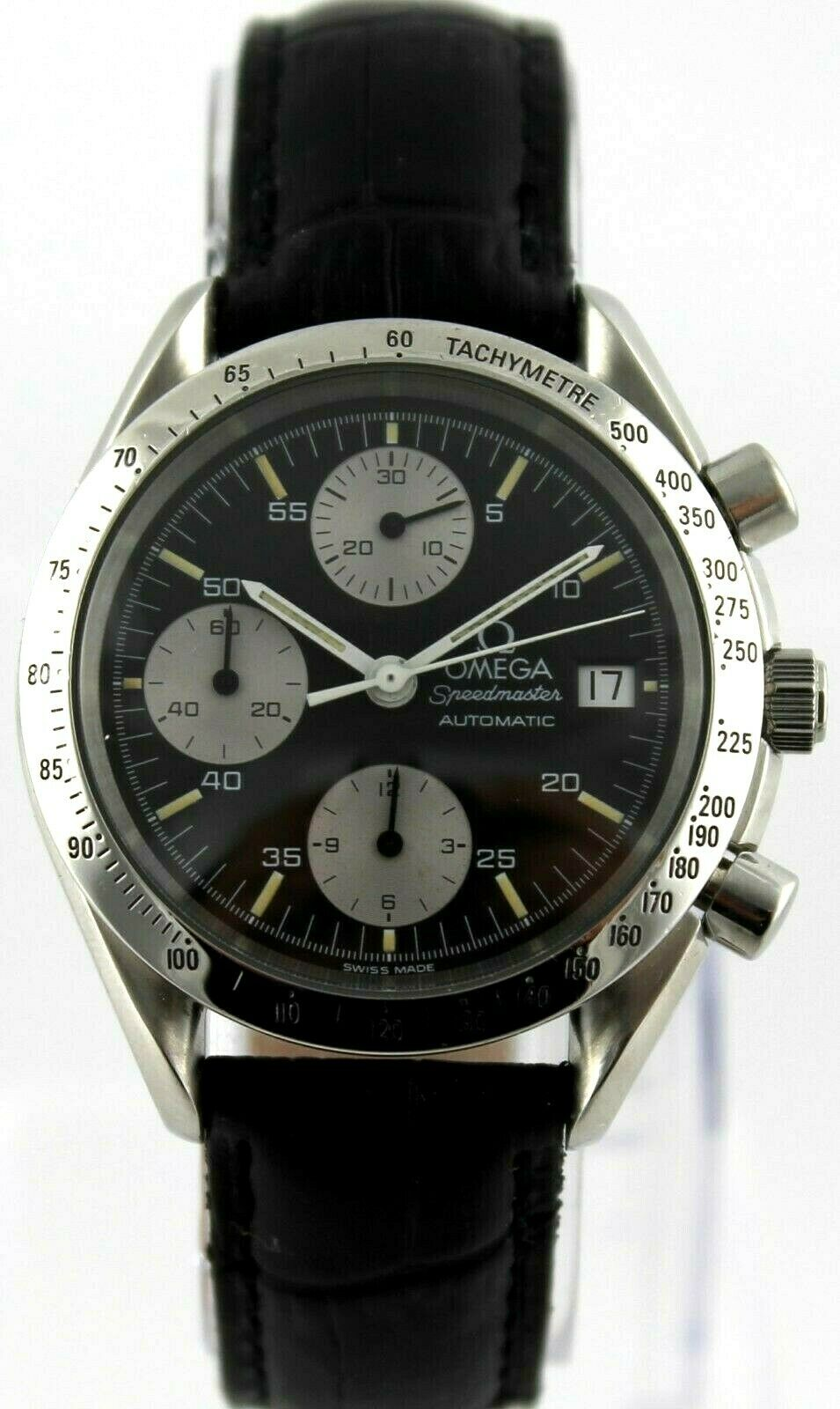 OMEGA MENS SPEEDMASTER 3511.50 AUTOMATIC CHRONOGRAPH PANDA BLACK LEATHER WATCH