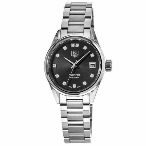 TAG HEUER LADIES CARRERA WAR2413.BA0776 AUTOMATIC DIAMOND BLACK SWISS WATCH