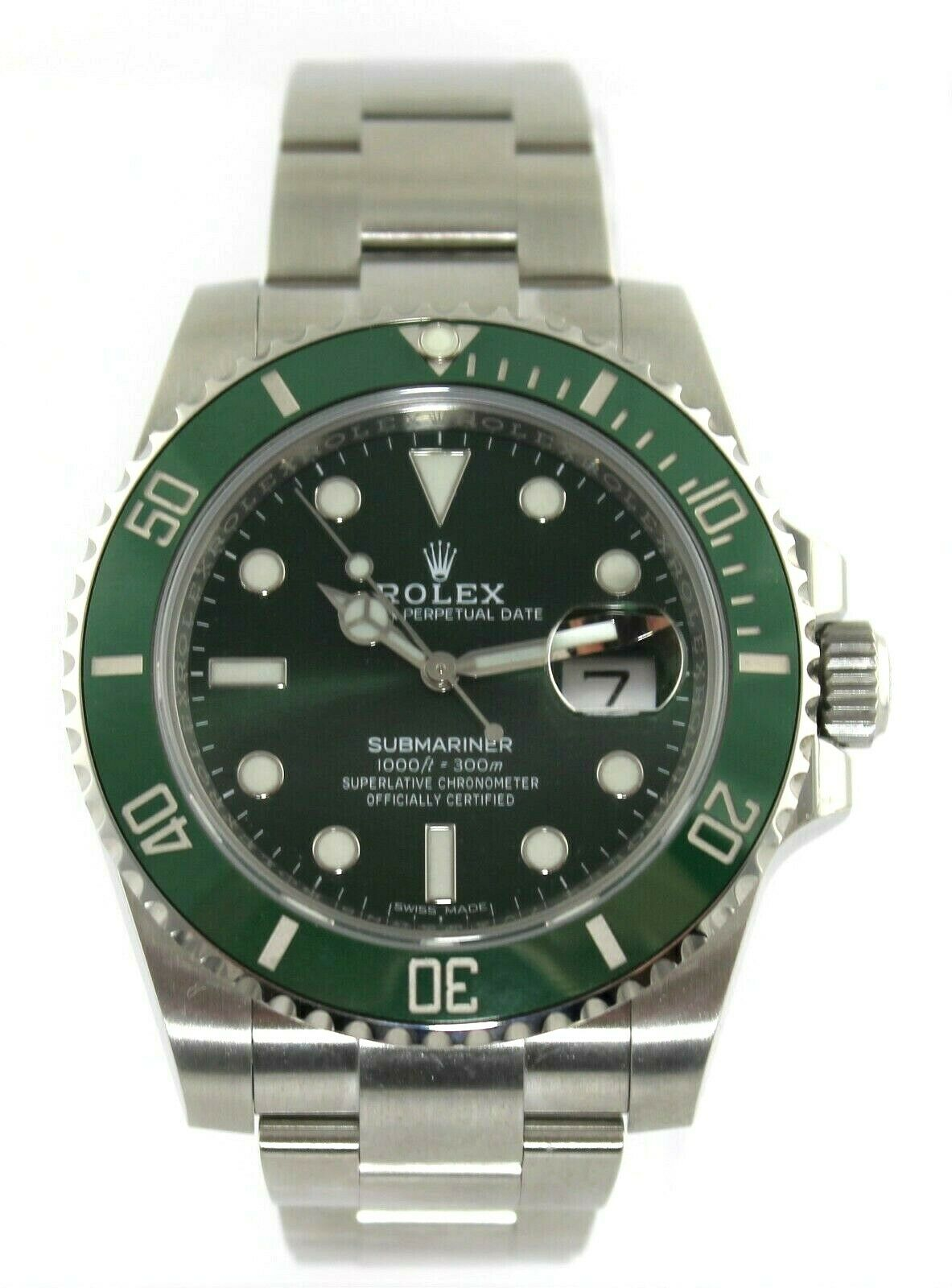 UNWORN ROLEX SUBMARINER HULK 116610LV GREEN CERAMIC MENS 40MM WATCH BOX & PAPERS