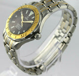 OMEGA SEAMASTER 2453.50 18K SOLID GOLD BEZEL DIVER AUTOMATIC MIDSIZE BLACK WATCH