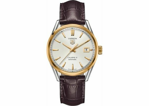 TAG HEUER CARRERA WAR215B.FC6181 MENS AUTOMATIC DATE LUXURY CALIBRE 5 GOLD WATCH