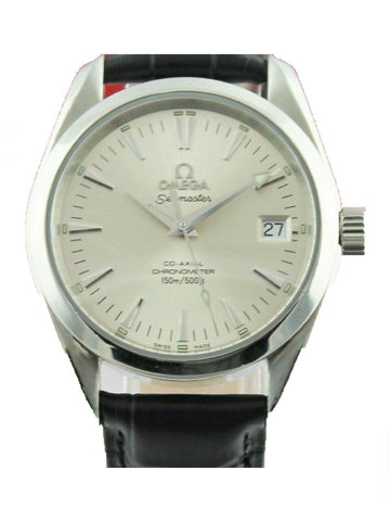 OMEGA SEAMASTER AQUA TERRA 2504.30 AUTO CO-AXIAL MIDSIZE SILVER LEATHER WATCH