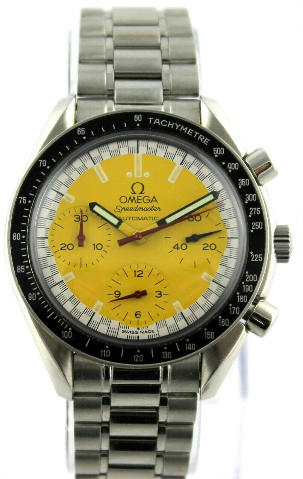 OMEGA SPEEDMASTER MICHAEL SCHUMACHER 3510.12 AUTOMATIC CHRONOGRAPH YELLOW WATCH