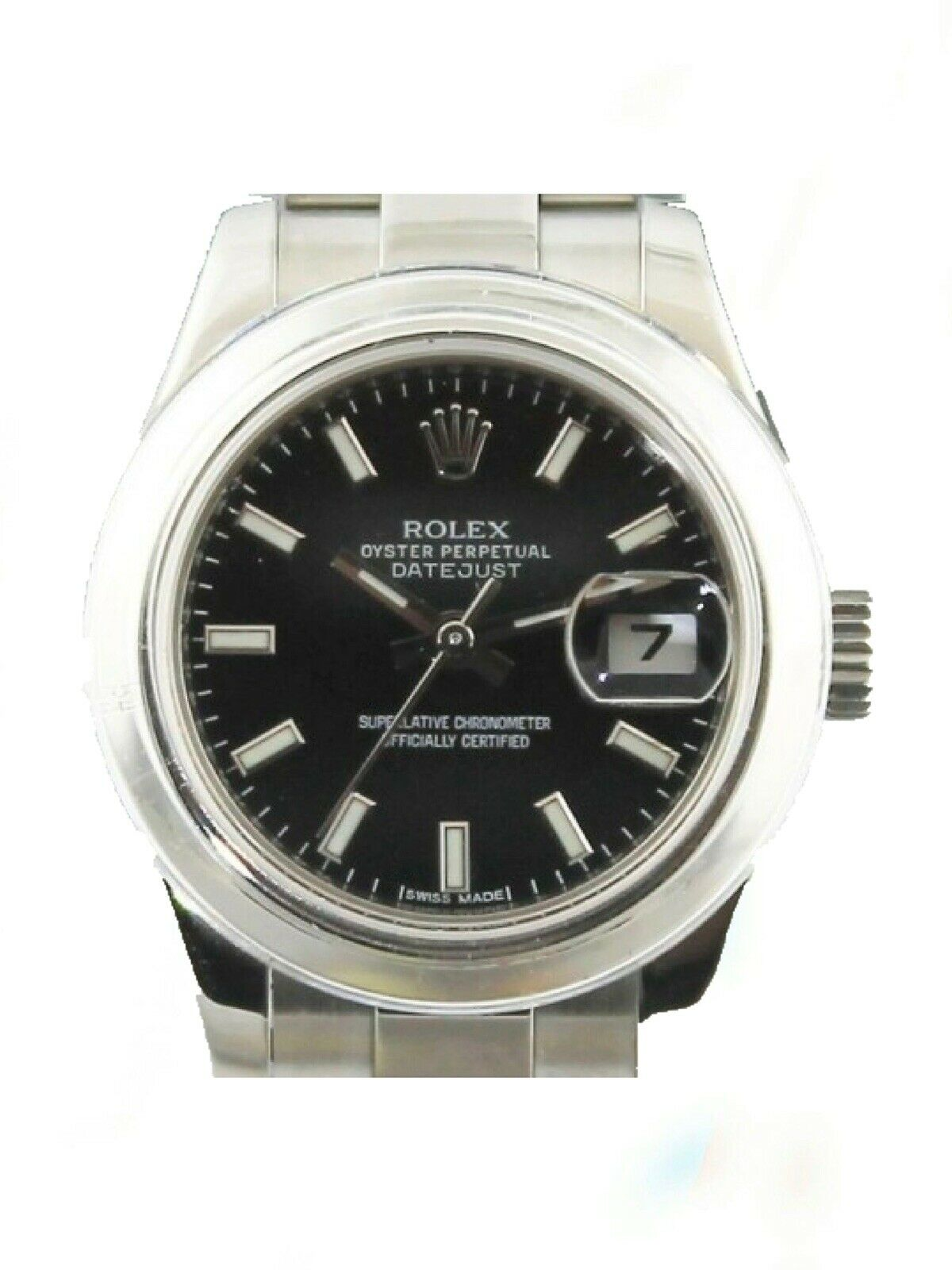 ROLEX  Ladies 26MM Stainless DateJust 179160 Black Index Watch Box And Papers