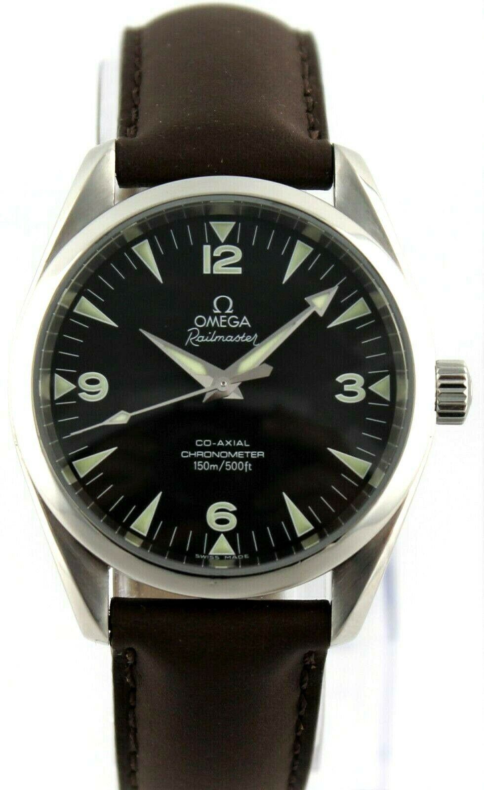 OMEGA AQUA TERRA RAILMASTER 2803.52 AUTOMATIC CO-AXIAL BROWN LEATHER SWISS WATCH