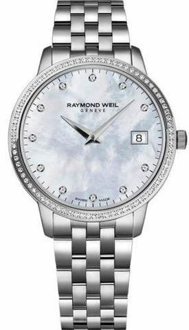 BRAND NEW RAYMOND WEIL FREELANCER 5629-STS-97081 DIAMOND PEARL LADIES 29MM WATCH