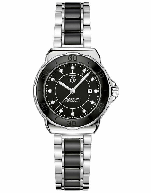TAG HEUER FORMULA 1 DIAMOND WAH1314.BA0867 BLACK CERAMIC LADIES LUXURY WATCH