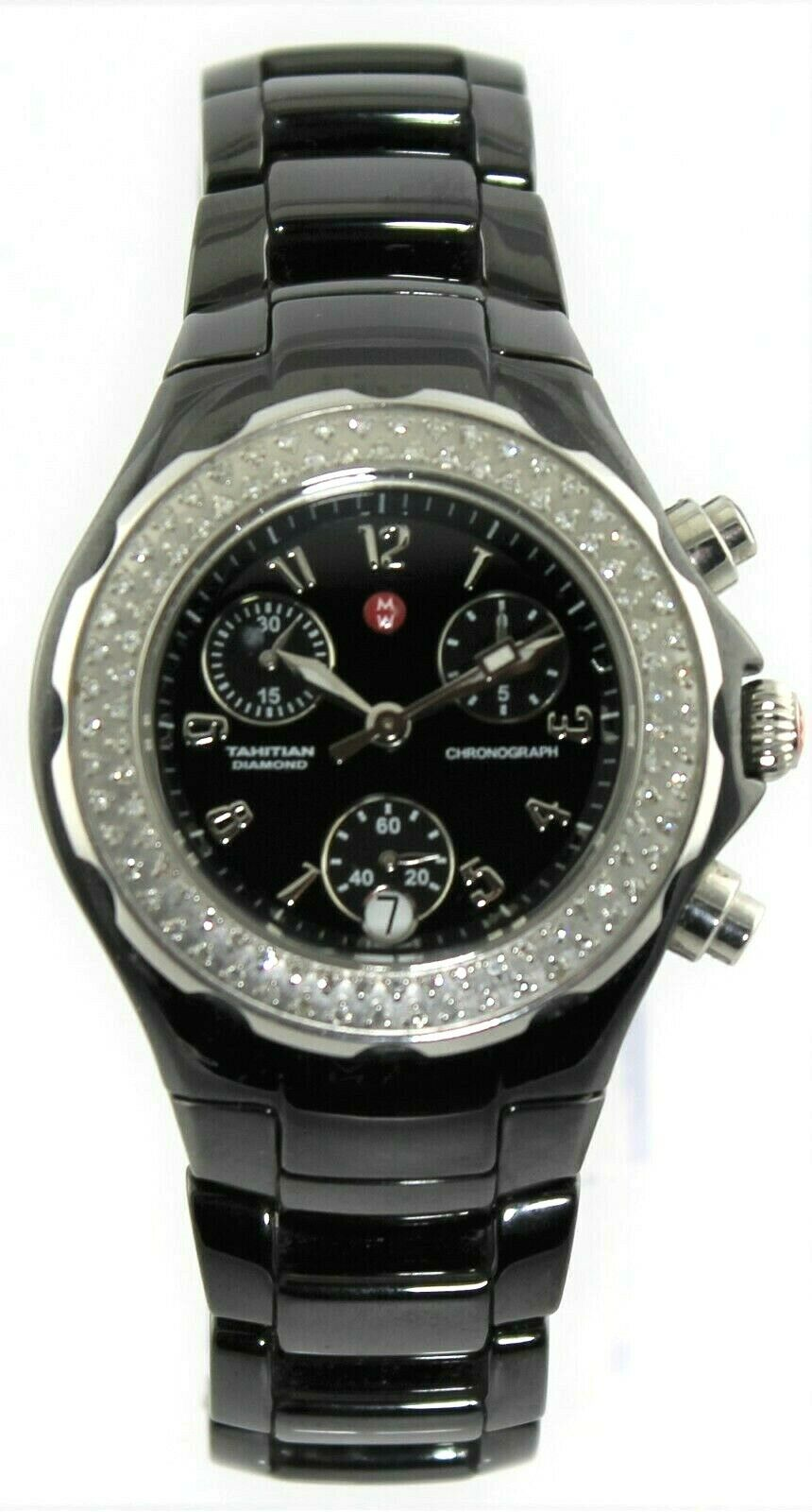 MICHELE TAHITIAN MWW12A000005 BLACK CERAMIC CHRONOGRAPH DIAMOND LADIES WATCH