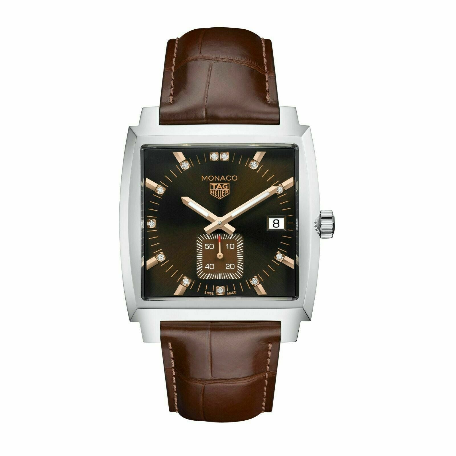 TAG HEUER MONACO WAW131E.FC6420 AUTOMATIC LEATHER DIAMOND BROWN  QUARTZ WATCH