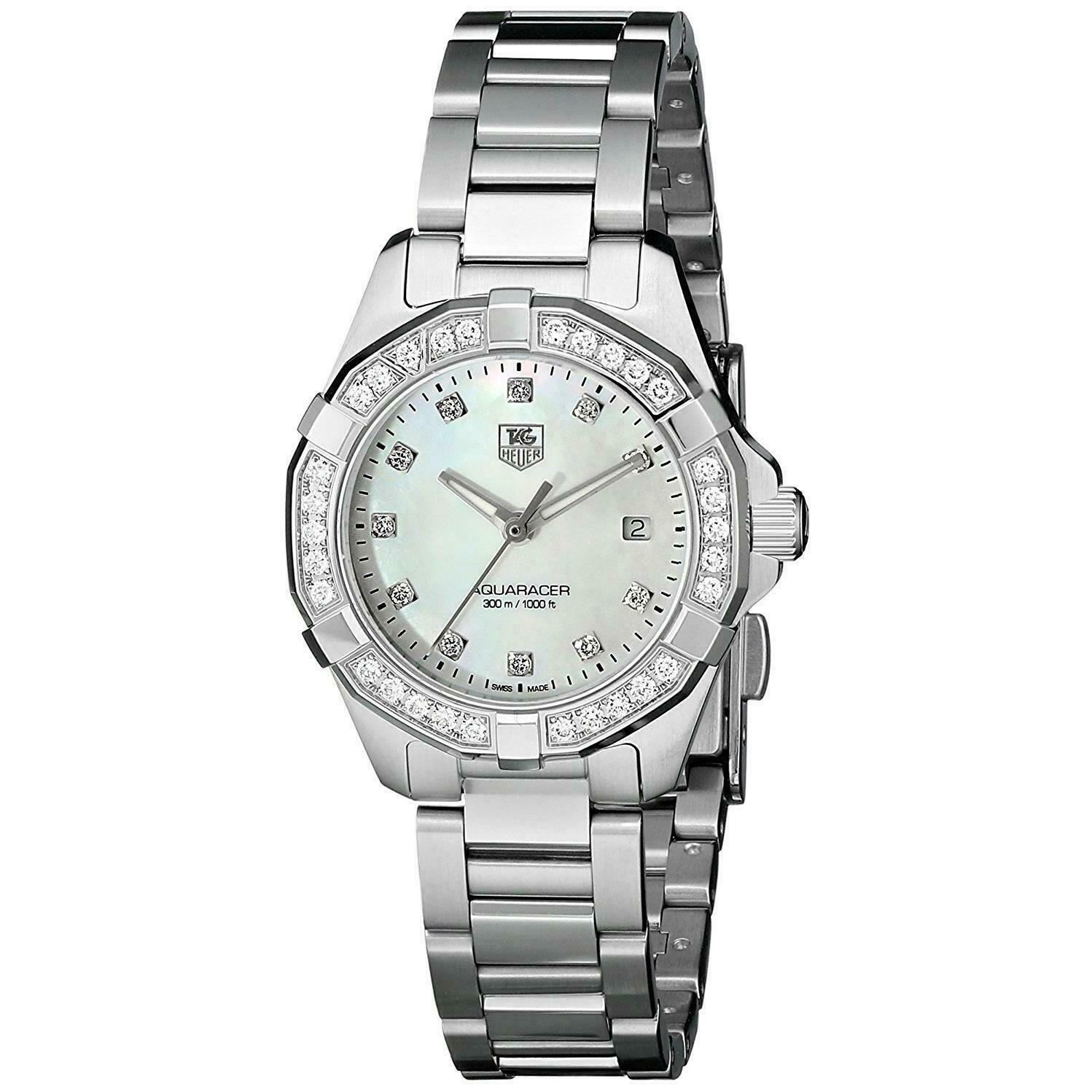 TAG HEUER WOMENS AQUARACER WAY1414.BA0920 SWISS QUARTZ DIAMOND PEARL WATCH