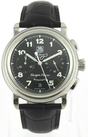 TAG HEUER TARGA FLORIO FANGIO CX2113.FC6177 CHRONO LIMITED LEATHER RARE WATCH