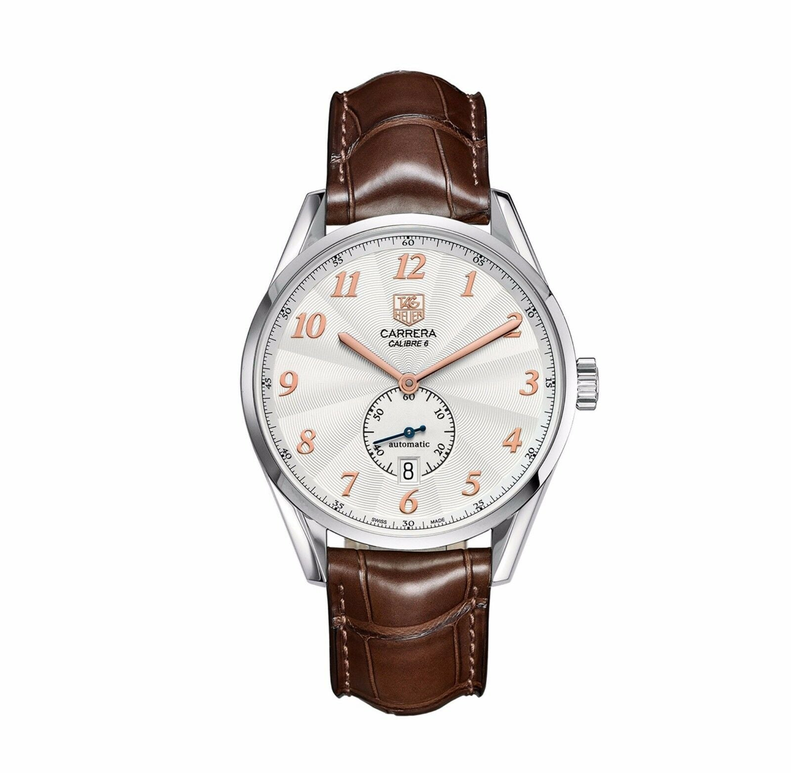 TAG HEUER CARRERA HERITAGE WAS2112.FC6181 AUTO CALIBRE 6 LEATHER BROWN WATCH