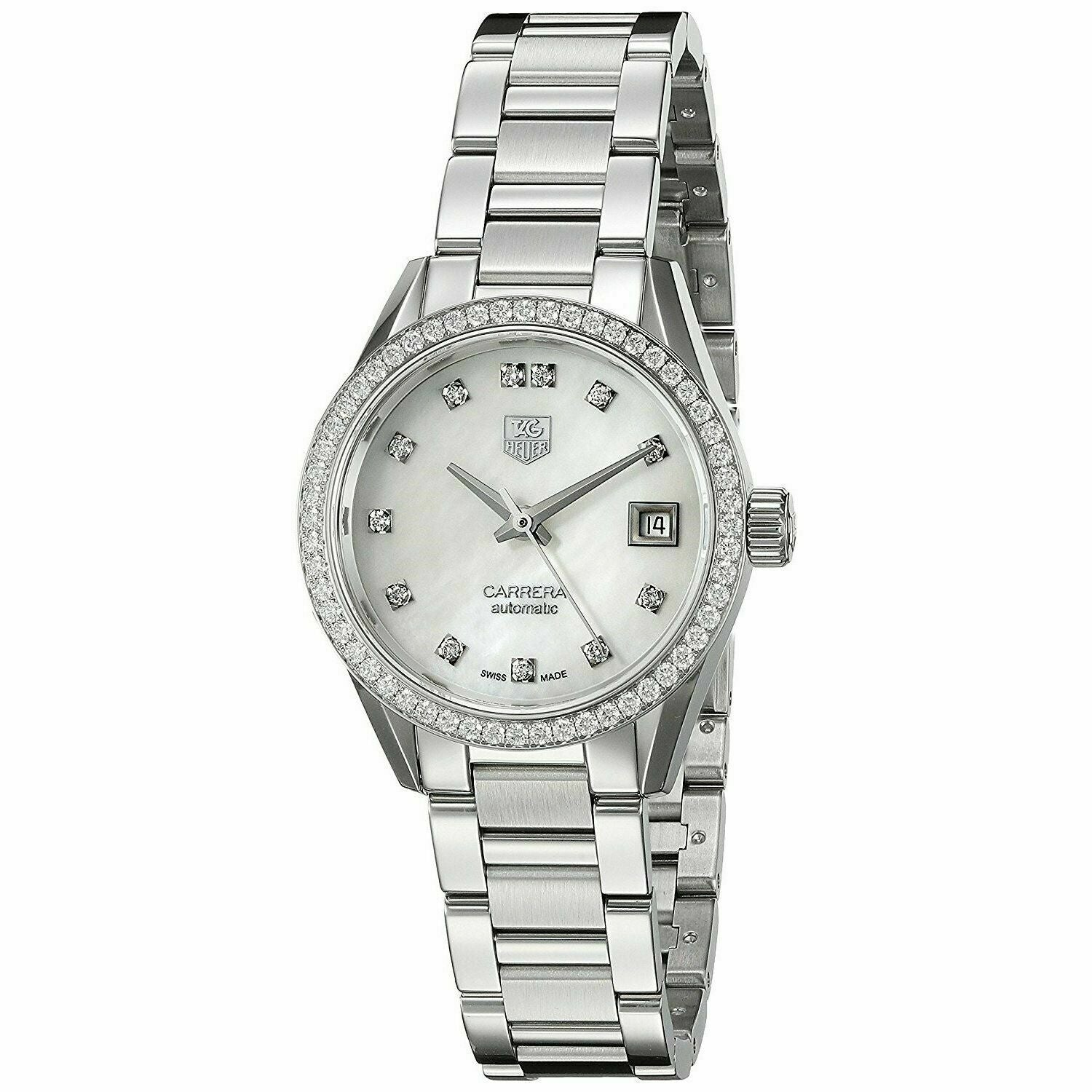 TAG HEUER LADIES CARRERA WAR2415.BA0776 DIAMOND MOTHER OF PEARL AUTOMATIC WATCH