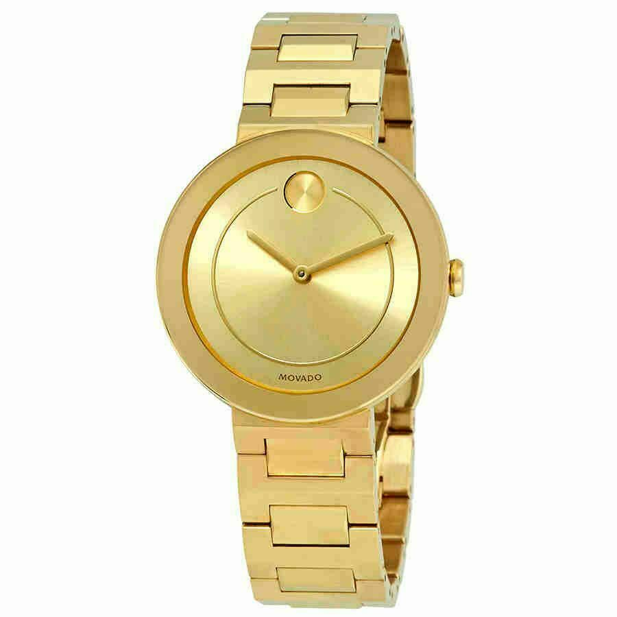 BRAND NEW MOVADO BOLD 3600498 GOLD TONE LADIES GOLD DIAL SWISS QUARTZ 34MM WATCH