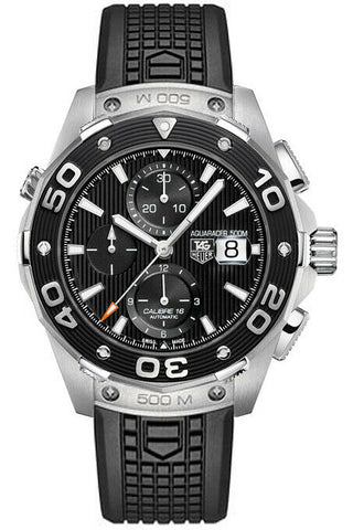 TAG HEUER AQUARACER CAJ2110.FT6023 AUTO 500M CHRONOGRAPH BLACK RUBBER MENS WATCH