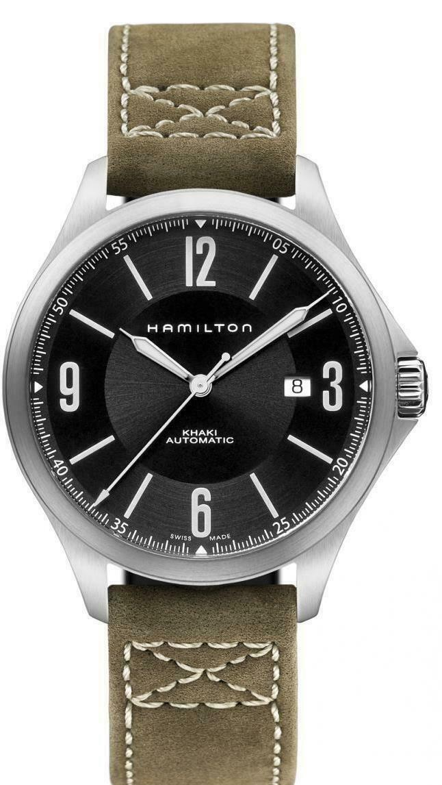 BRAND NEW HAMILTON KHAKI AVIATION H76665835 AUTOMATIC LEATHER STRAP MENS WATCH