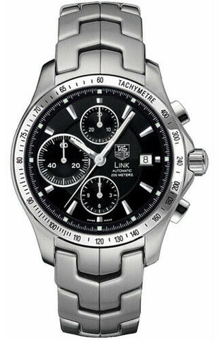 TAG HEUER LINK CJF2110.BA0594 CHRONO AUTO BLACK STEEL EXHIBITION BACK WATCH