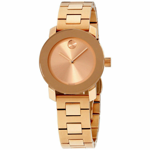 BRAND NEW MOVADO BOLD 3600435 ROSE GOLD SWISS QUARTZ LADIES STEEL 30MM WATCH