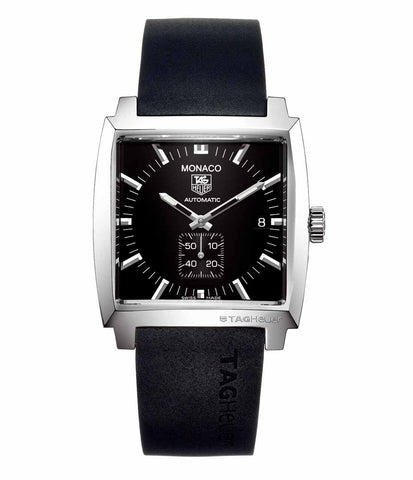 TAG HEUER MONACO WW2110.FT6005  AUTOMATIC BLACK RUBBER MENS SWISS WATCH