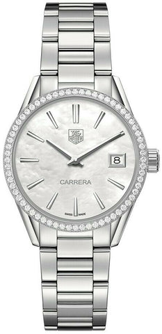 TAG HEUER LADIES CARRERA WAR1315.BA0778 DIAMOND MOTHER OF PEARL LUXURY WATCH