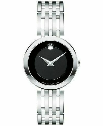 BRAND NEW MOVADO LADIES ESPERANZA 0607051 BLACK STAINLESS STEEL CONCAVE WATCH