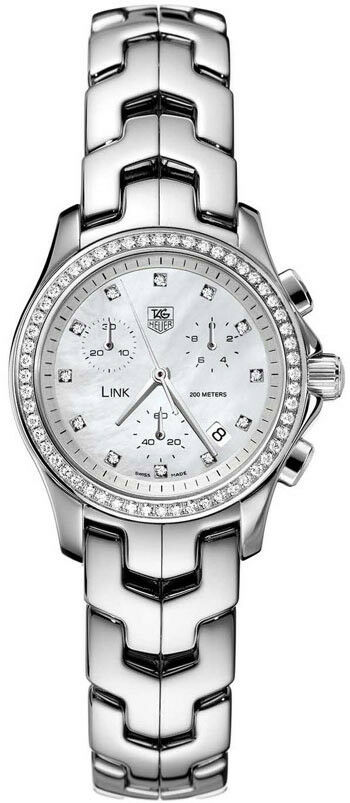GIFT IDEA TAG HEUER WOMENS LINK CJF1314.BA0580 CHRONOGRAPH PEARL DIAMOND WATCH