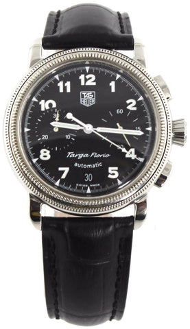 TAG HEUER TARGA FLORIO CX2110.FC6177 AUTOMATIC CHRONOGRAPH BLACK LEATHER WATCH