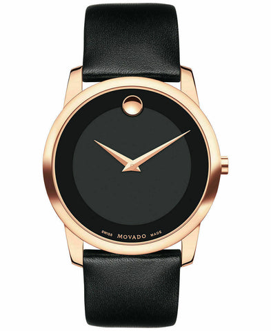 BRAND NEW MOVADO MUSEUM 0607078 ROSE GOLD BLACK LEATHER SWISS QUARTZ WATCH