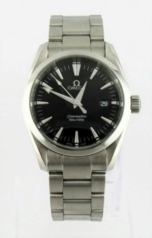 OMEGA SEAMASTER AQUA TERRA 2518.50 BLACK SWISS QUARTZ MIDSIZE MENS LUXURY WATCH