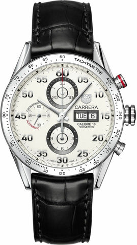 AMAZING TAG HEUER CARRERA CV2A11.FC6235 CHRONOGRAPH LEATHER DAY DATE WATCH