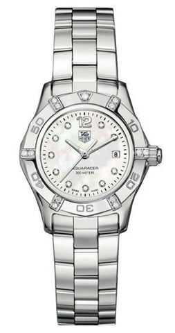 NEW TAG HEUER AQUARACER WAF141G.BA0824 LADIES MOTHER OF PEARL DIAMOND WATCH