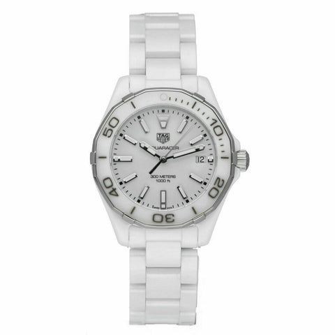 TAG HEUER  AQUARRACER WAY1391.BH0717 WHITE CERAMIC LADY SWISS QUARTZ DATE WATCH