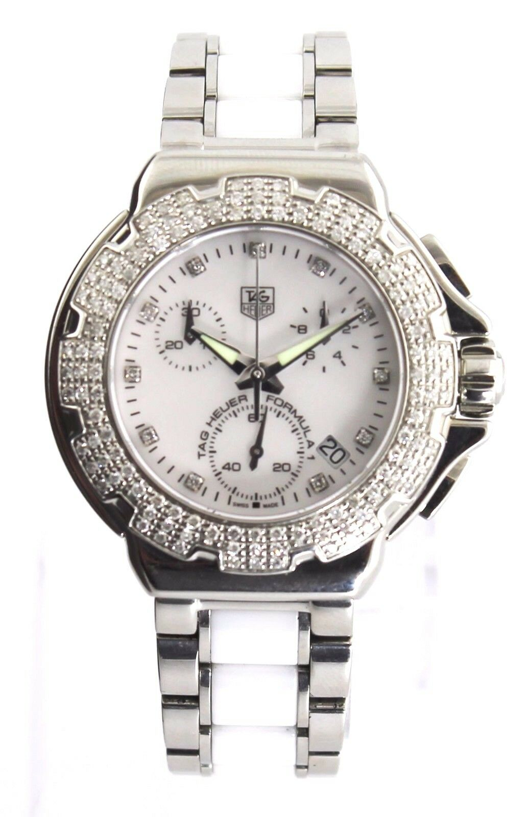 TAG HEUER FORMULA 1 CAC1310.BA0861 DIAMOND CHRONOGRAPH PEARL CERAMIC MINT WATCH