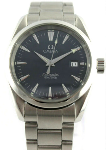 OMEGA SEAMASTER AQUA TERRA 2518.80 BLUE SWISS QUARTZ MIDSIZE MENS LUXURY WATCH