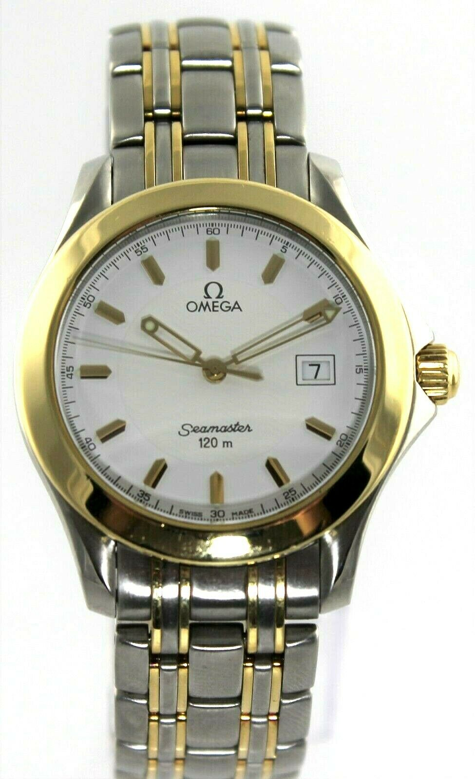 OMEGA SEAMASTER 2311.21 120M SWISS QUARTZ DATE 18K GOLD & STEEL MENS WHITE WATCH