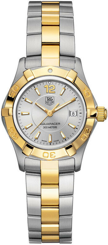AUTHENTIC TAG HEUER AQUARACER WAF1420.BB0814 SILVER QUARTZ 18K GOLD LADY WATCH
