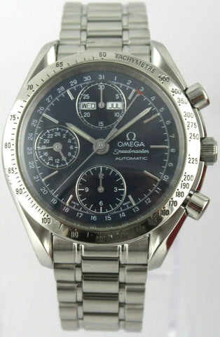 OMEGA MENS SPEEDMASTER 3521.80 AUTOMATIC CHRONOGRAPH TRIPLE DATE BLUE WATCH