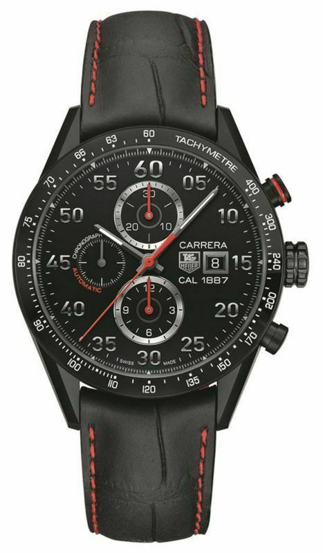 TAG HEUER CAR2A80.FC6237 CARRERA MENS AUTOMATIC CALIBRE 1887 BLACK LEATHER WATCH
