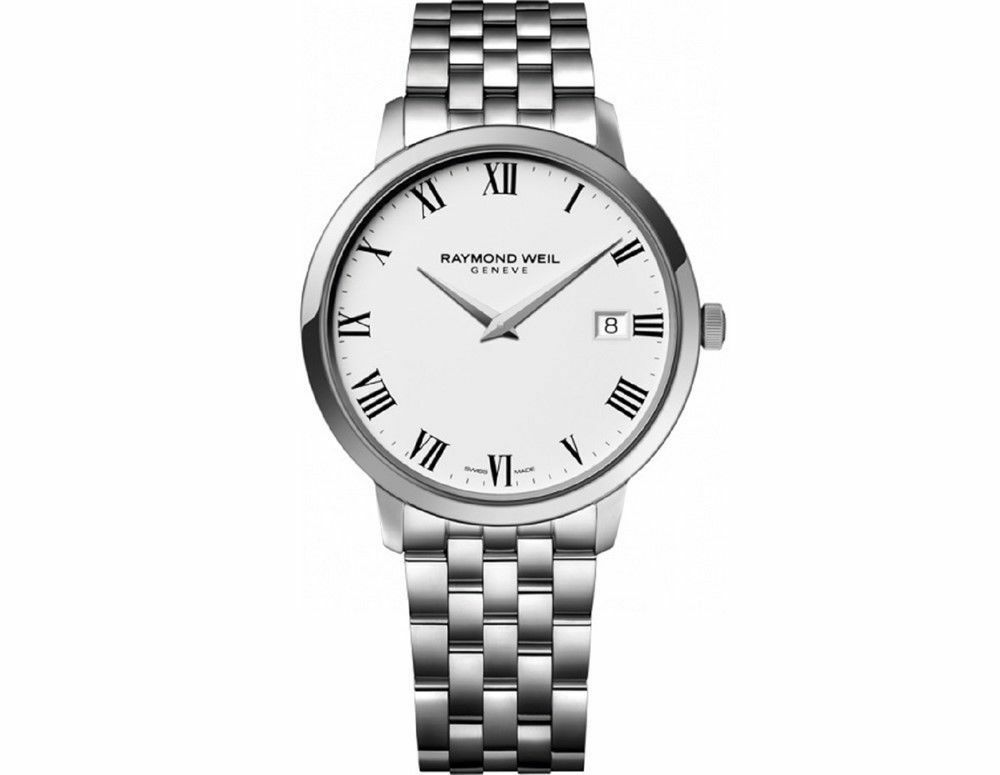 NEW MENS RAYMOND WEIL TOCCATA 5488-ST-00300 WHITE DIAL 39MM QUARTZ STEEL WATCH