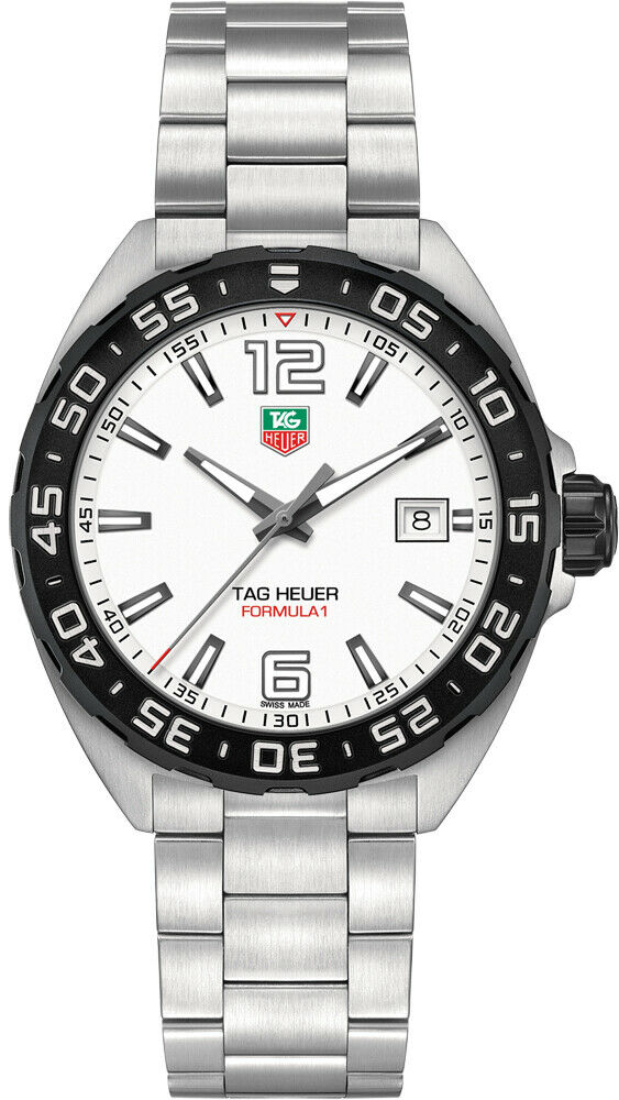 TAG HEUER FORMULA 1 WAZ1111.BA0875 DATE QUARTZ GENTS WHITE STEEL SPORTS WATCH