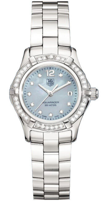 BEAUTIFUL TAG HEUER AQUARACER WAF141J.BA0813 DIAMOND BLUE MOTHER PEARL WATCH