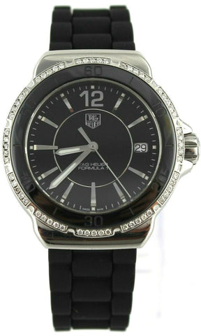 TAG HEUER  FORMULA 1 WAH1212.BT0711 BLACK CERAMIC LADIES DIAMOND LUXURY WATCH